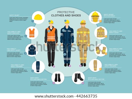 Infographics with professional workwear for hard-working people. Safety clothes and helmet. High visibility lined jacket, trousers and waistcoat - stock vector