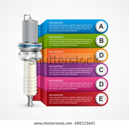 Infographics with spark plugs for presentations and brochures. Vector illustration