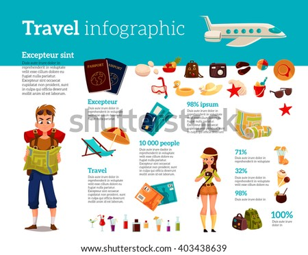 Infographics with travel concept summer vacation on the beach, tourists go hiking in travel between countries, vacation, set of vector elements of icons, card, ticket, airplane, passport, beach stuff - stock vector