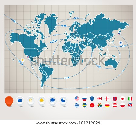 Infographics. World map with ship tracking Infographics. World map with ship tracking - stock vector