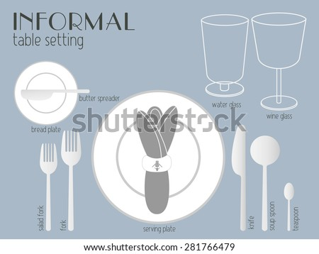 INFORMAL TABLE SETTING white and clear tableware and eating utensils are set at the table for serving. Simply style place setting or table setting or laying a table) are for casual dining. - stock vector