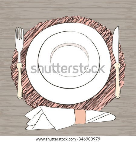 Informal vector table setting. Tableware and eating utensils are set at the table for serving. Wooden table background - stock vector