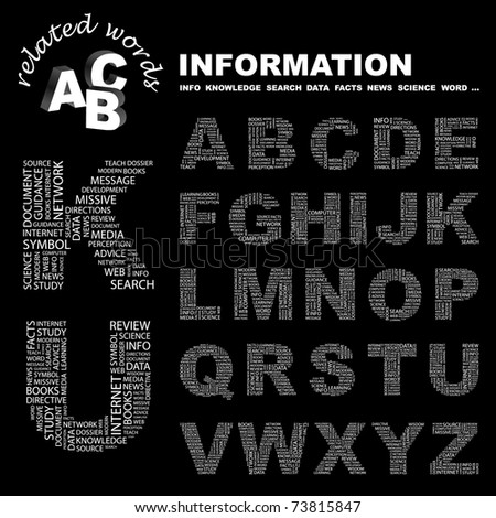 INFORMATION. Alphabet. Illustration with different association terms.