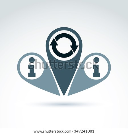 Information analyzing collecting and exchange theme icon, analyze and solution, vector conceptual unusual symbol for your design. - stock vector