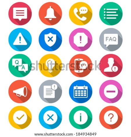 Information and notification flat color icons - stock vector
