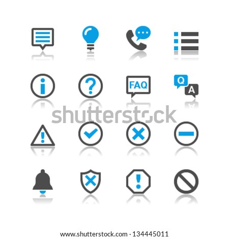 Information and notification icons reflection theme - stock vector