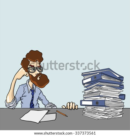 Information are need to explore. Boring work with stack of papers. Vector illustration of accounting, analysis, articles. Project Manager working overtime with documents. Man sits in office after work
