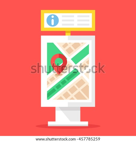 Information board and city map stand. Flat design vector illustration - stock vector