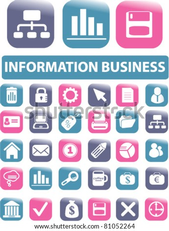 information business icons, signs, vector illustrations - stock vector