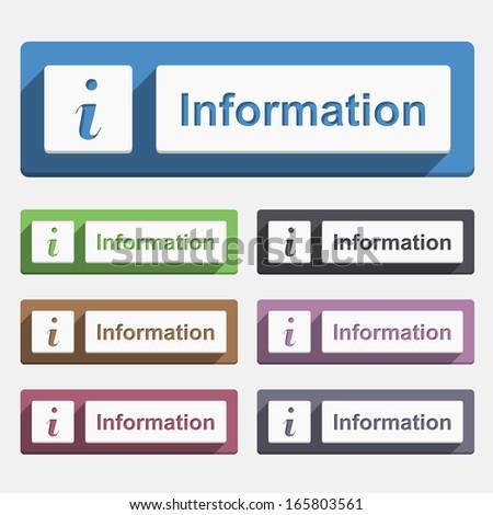 Information button, flat design, vector eps10 illustration - stock vector