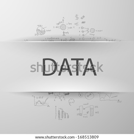 Information concept: inscription �¢??DATA�¢?� with formulas on the background - stock vector