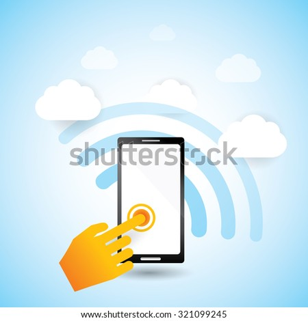 Information goes to the sky. wireless communication device. - stock vector