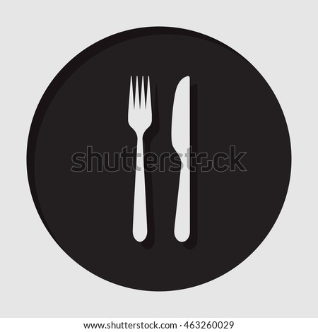 information icon - dark circle with white cutlery, fork and knife