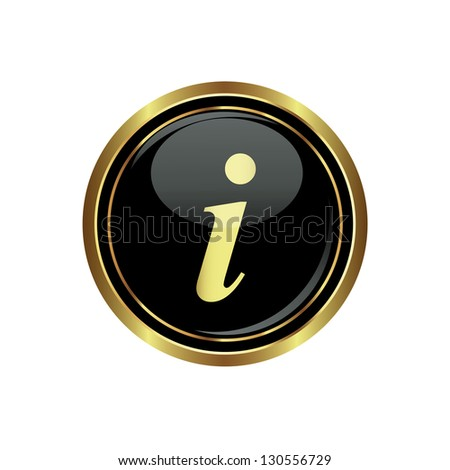 Information icon on black with gold button. Vector illustration - stock vector