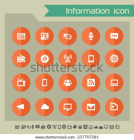 Information icons on bright orange flat circles - stock vector