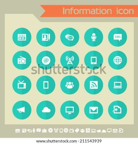 Information icons on green buttons - stock vector