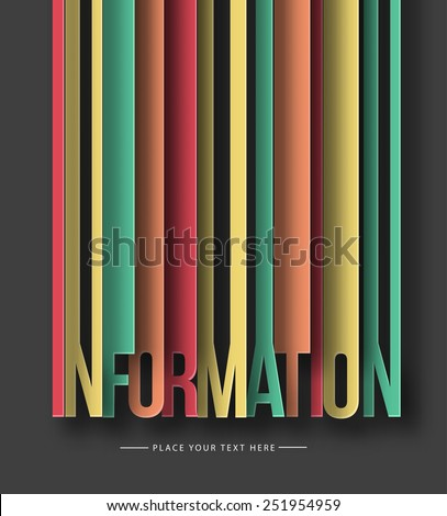 Information paper cut text on abstract background with drop shadows. Vector illustration  - stock vector