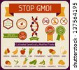 Information Poster Stop GMO! - stock vector