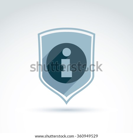 Information protection theme icon with shield, vector conceptual unusual symbol for your design. - stock vector