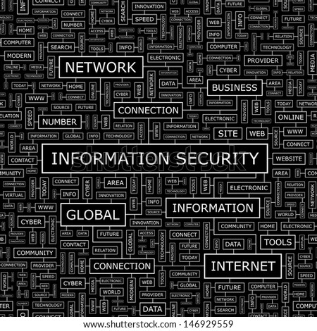 INFORMATION SECURITY. Background concept wordcloud illustration. Print concept word cloud. Graphic collage with related tags and terms. Vector illustration.