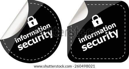 information security black stickers label tag set - stock vector