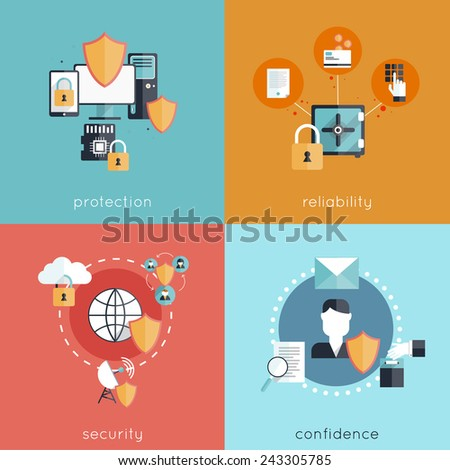 Information security design concept set with protection reliability security and confidence flat icons isolated vector illustration - stock vector