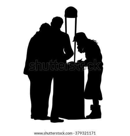information service, reception desk, info support -  silhouette, - stock vector