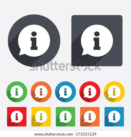 Information sign icon. Info speech bubble symbol. Circles and rounded squares 12 buttons. Vector - stock vector