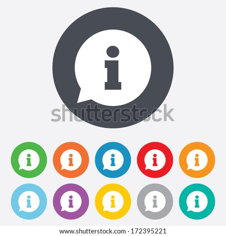 Information sign icon. Info speech bubble symbol. Round colourful 11 buttons. Vector - stock vector