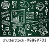 Information technology and internet sketch icons on school board - stock photo