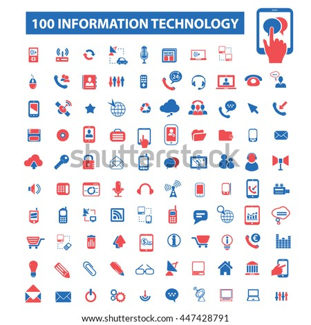 information technology, big data, database, analysis, storage, hosting, safety, trust, cloud computing, program coding, development, network, system administration icons. Vector illustration