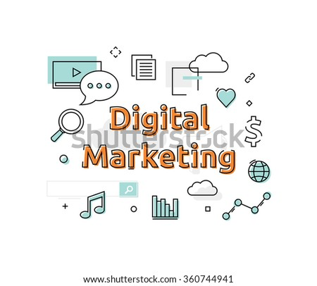 Information Technology Concept. Digital Marketing. - stock vector