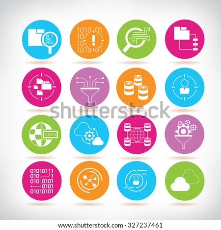 information technology, data analytics and network icons - stock vector