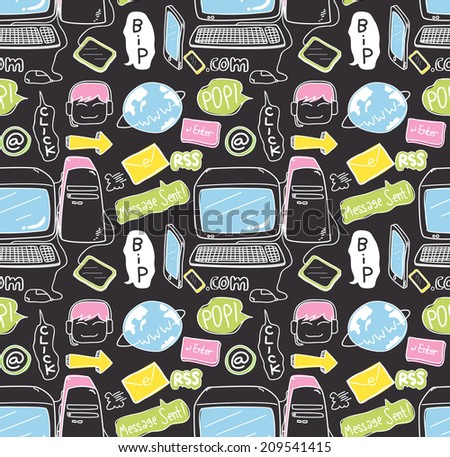 information technology doodle seamless background - stock vector