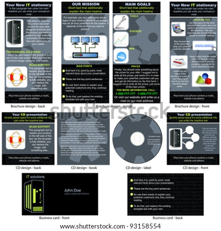 Information Technology (IT) stationary - brochure design, CD cover design and business card design in one package and fully editable.
