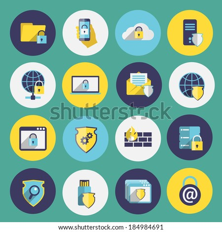Information technology security flat icons set of computer mobile firewall protection isolated vector illustration - stock vector