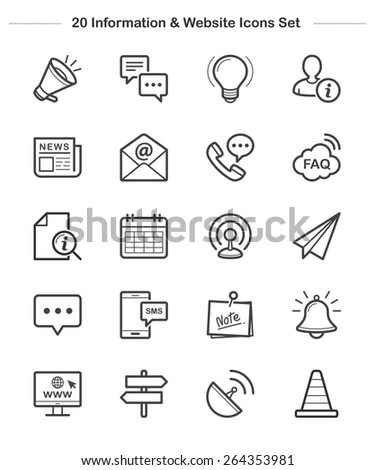 Information & Website Icons Set, line icon, Vector illustration  - stock vector