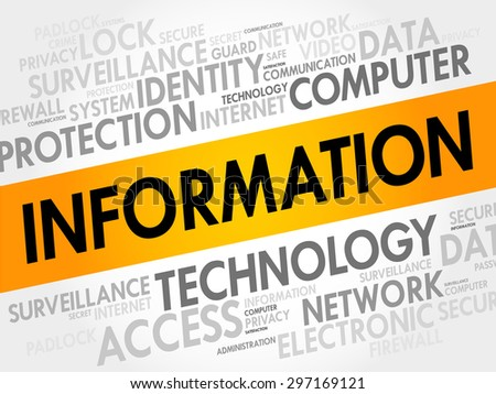 INFORMATION word cloud, security concept - stock vector