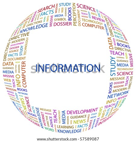 INFORMATION. Word collage on white background. Illustration with different association terms.
