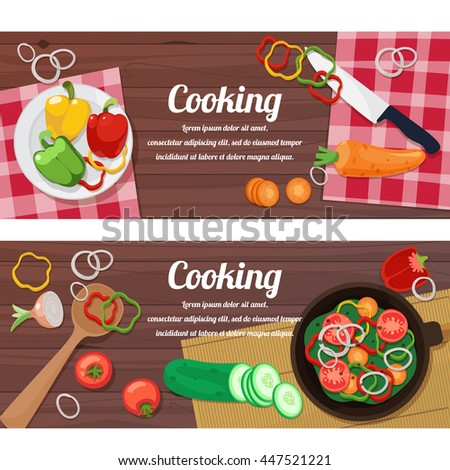 Ingredients for cooking and dishes, cutlery and spices. Vector illustration.