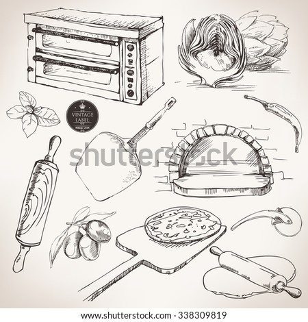 ingredients for pizza, vector drawing - stock vector