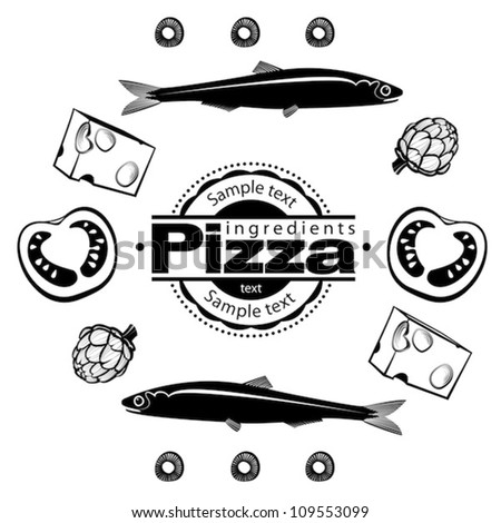 Ingredients for  pizza with anchovies. Vector illustration in the engraving style, can be used for design labels and package - stock vector