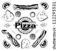 Ingredients for pizza with bacon - stock vector