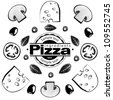 Ingredients for pizza with mushrooms. Vector illustration in the engraving style, can be used for design labels and package - stock vector