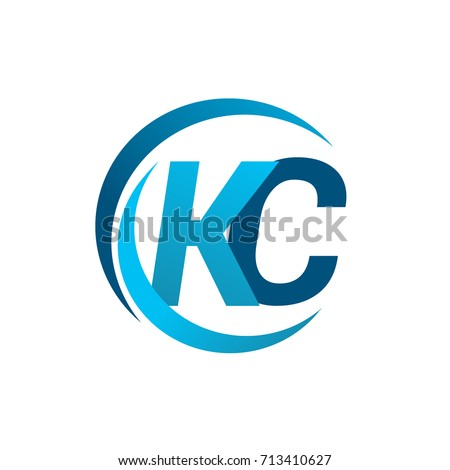 initial letter kc logotype company name stock vector