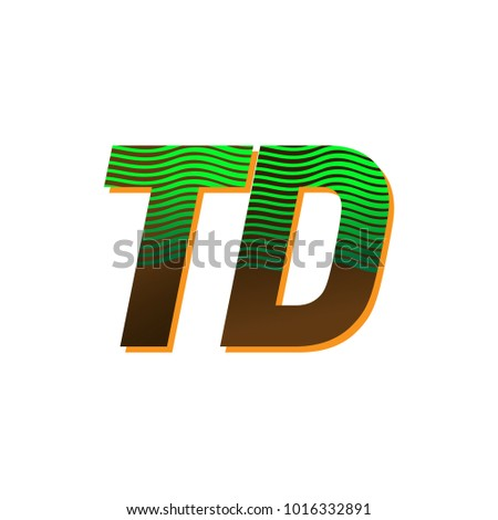 Initial Letter Logo Td Colored Green Stock Vector 1016332891