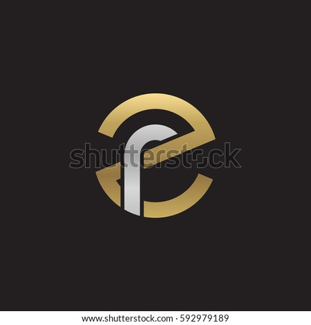 Stock Vector Initial Letter Logo Zr Rz Inside Rounded Lowercase Gold Silver Monogram Ft