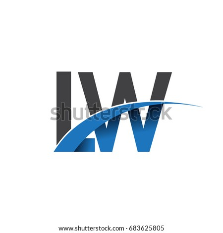 initial letter LW logotype company name colored blue and grey swoosh design. vector logo for business and company identity.