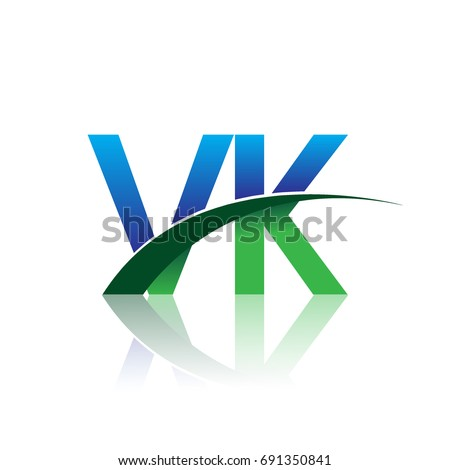 Initial Letter VK Logotype Company Name Colored Blue And Green Swoosh Design Vector Logo For
