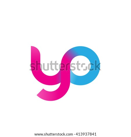initial letter yo linked round lowercase logo pink blue purple - stock vector